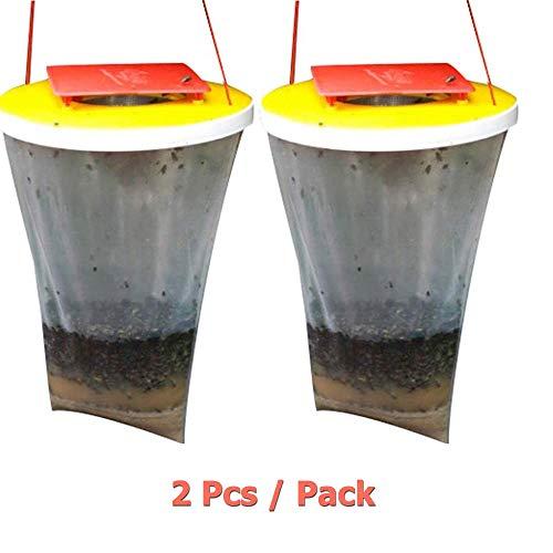 NBHUYT Red Top Fliegenfalle, 2 Stück Fliegenfänger Im Freien hängend, Fliegenfallen-Can Kill-up Fang zu 20.000 Fliege Insekten Käfer, Fliegen Bug Trapper-Tasche