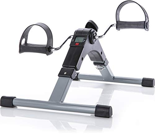 Folding Pedal Exercise Bike to Strengthen and Tone Legs or Arms With Electronic Display - Great Cardio Exercise Bike for Seniors & Office Workers - Best Small Exercise Equipment for the Home