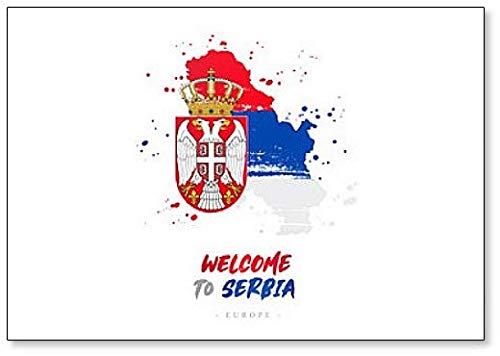 Willkommen in Serba. Kühlschrankmagnet Flagge & Landkarte des Landes, Kühlschrankmagnet