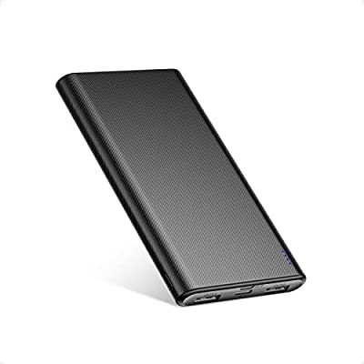 BABAKA 10000mAh Portable Charger Ultra-Thin Power Bank with Micro and USB-C Dual Inputs and Dual Outputs Battery Pack for iPhone 12, Huawei Mate 10, Samsung Galaxy S9, Tablet and More-Black