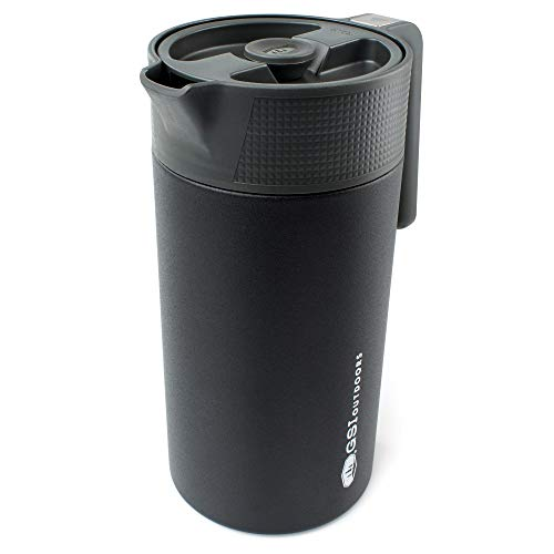 GSI Outdoors, Glacier Stainless JavaPress, 30oz French Press Coffee Mug for Camping, Black