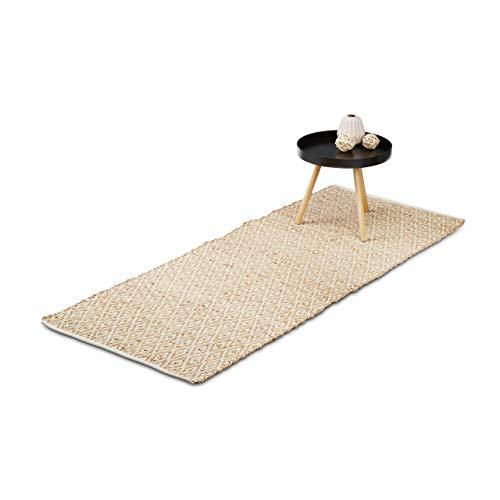Relaxdays Teppich Jute, Flurläufer, 80 x 200 cm, Naturfaser, Karomuster, Teppichläufer, Läufer Flur Diele, hell braun