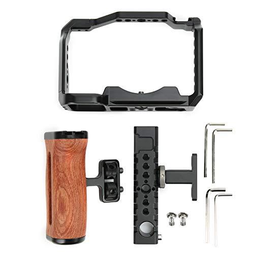 Camera Cage, Multifunzione in Lega di Alluminio Manico in Legno Camera Mirrorless Video Cage per Sony A7C