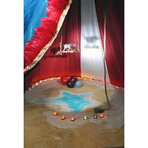 Cassisy 2x3m Vinilo Circo Telon de Fond Espectáculo de Arena de Circo Cortinas De Circo Rojo Velas Elefante Fondos para Fotografia Party bebé Infantil Photo Studio Props Photo Booth