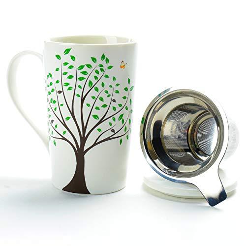 TEANAGOO M058-3 Taza de té de cerámica con infusor y tapa, 510 ml, Green Tree, Teaware de viaje con filtro, Tea Cup Steeper Maker, Colador de preparación para té de hojas sueltas