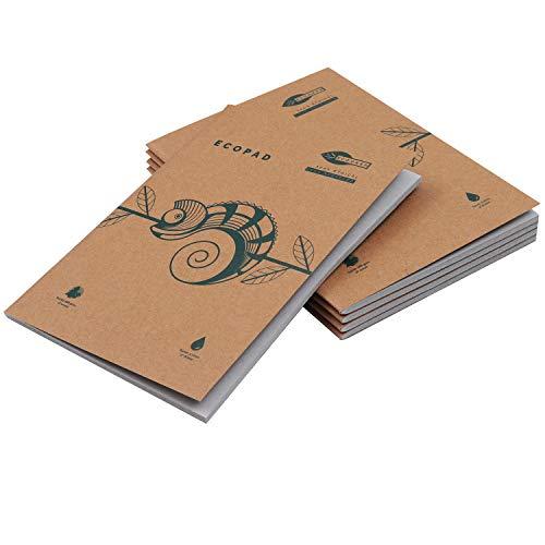 Quaderni Carta Riciclata (5 Pz) - A5 Quaderno Appunti Pagine Bianche per Scuola e Ufficio - Quaderno Fogli Bianchi con Copertina Marrone per Viaggi - Quaderno A5 Ecologico (60 GSM, 80 Pagine)