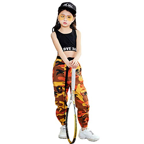 2 Piezas Niñas Hip Hop Street Dance Ropa Individual Juego Crop Tank Top + Camuflaje Pantalones Basculador