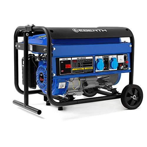 EBERTH 3000 Watt Benzin Stromerzeuger (Fahrgestell, 6,5 PS Benzinmotor, 4-Takt, luftgekühlt, 2x 230 V, 1x 12 V, Automatischer Voltregler AVR, Ölmangelsicherung, Voltmeter)