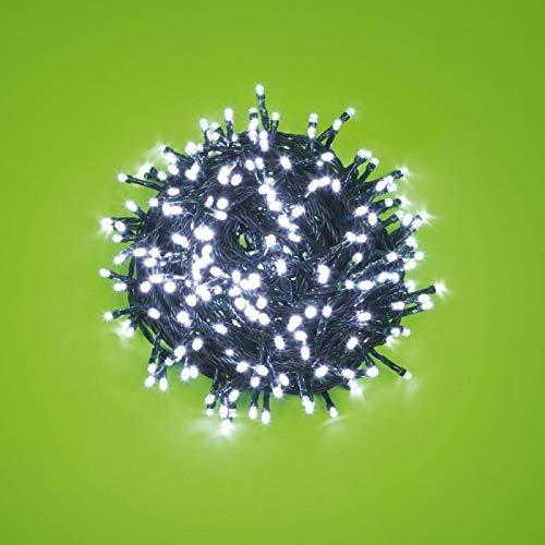 Chaîne 12,5 m, 300 LED blanches, avec jeux de lumière, câble vert, lumières pour arbre de Noël