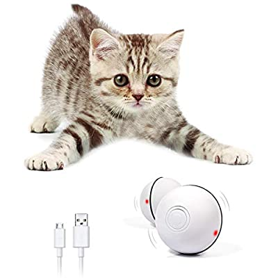 RBNANA Interactive Cat Toys Ball, 360 Degree Self Rotating Ball with LED Light USB Rechargeable Kitten Funny Chaser Roller Cat Toy Ball