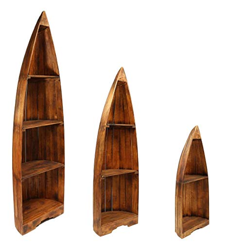 Oriental Galerie Bootsregal Regal im Boots-Design Holzregal Standregal Aufbewahrung Konsole Bord Albesia Holz, Design:Nr. 13, Größe:Klein