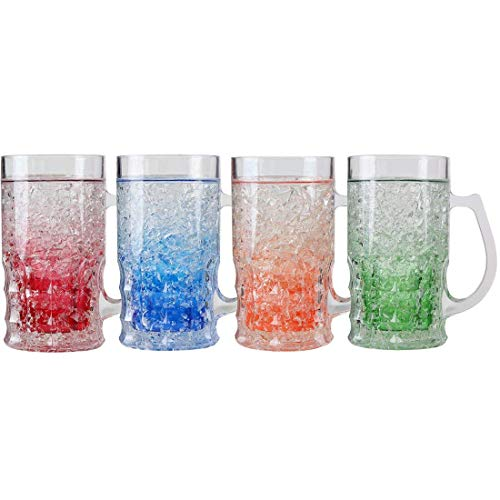 Lily's Home Double Wall Gel-Filled Acrylic Freezer Beer Glasses