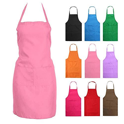 Nykkola Küchen-Schürze für Frauen/Mädchen, Kochen, Restaurant, Arbeit, Grillen, Garten, mit Taschen babyrosa