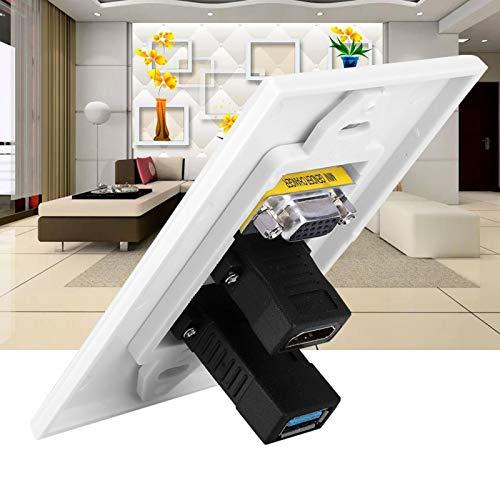 Enchufe USB3.0 Panel de Montaje en Pared Enchufe Duradero Panel de Montaje en Pared Adaptador de Interfaz VGA Enchufe de Pared, fácil instalación, sin Soldadura, para cableado de ingeniería