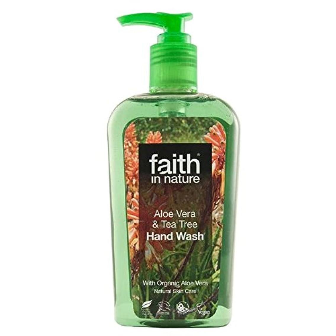 統計勝利ひどくFaith in Nature Aloe Vera & Tea Tree Handwash 300ml (Pack of 4) - (Faith In Nature) 自然のアロエベラ&ティーツリー手洗いの300ミリリットルの信仰 (x4) [並行輸入品]