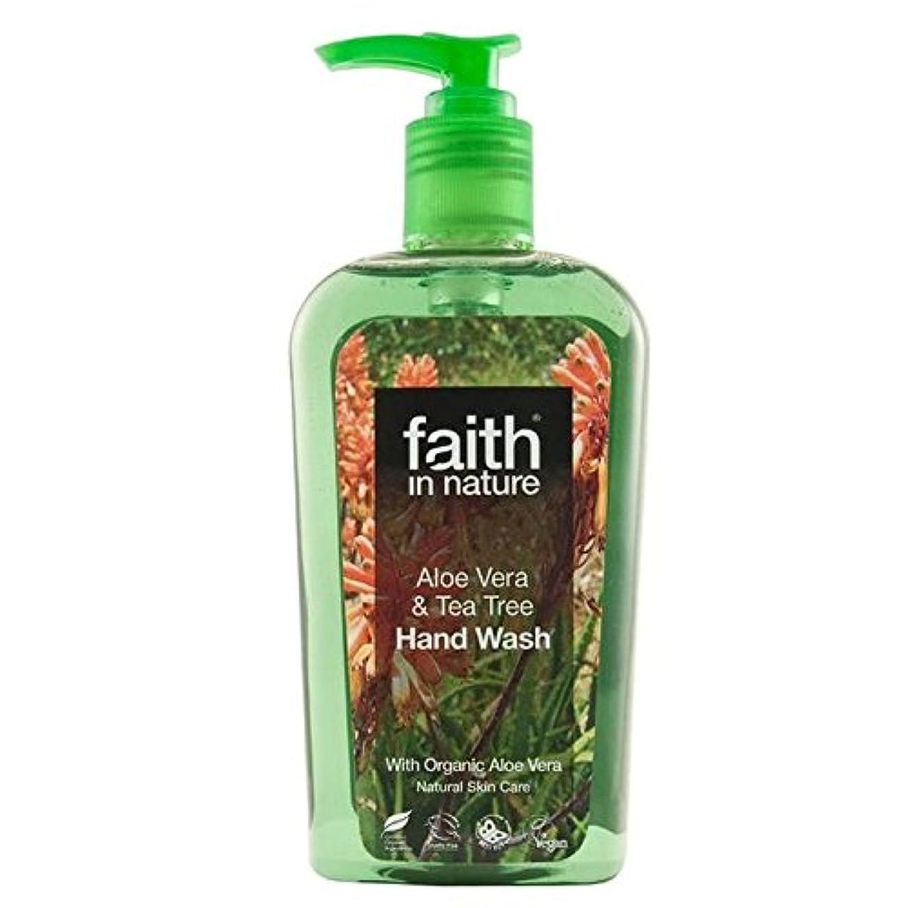 債務者薄汚い快いFaith in Nature Aloe Vera & Tea Tree Handwash 300ml (Pack of 4) - (Faith In Nature) 自然のアロエベラ&ティーツリー手洗いの300ミリリットルの信仰 (x4) [並行輸入品]