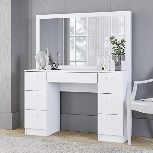 Boahaus Dressing Table, 7 Drawers, Full Width Mirror, White