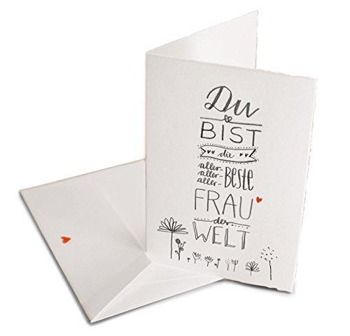 Valentinskarte - Glückwunschkarte für die beste Frau der Welt - Grußkartekarte oder Dankeschön Karte zu Valentinstag, Geburtstag, Klappkarte aus Bütte inkl. Umschlag