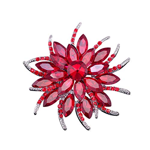 Janly Clearance Sale Women Brooch , Three Colors Gold Plated Rhinestone Crystal Bouquet Flower Scarf Pin & Brooch , Jewelry Sets , Valentine's Day (Red)