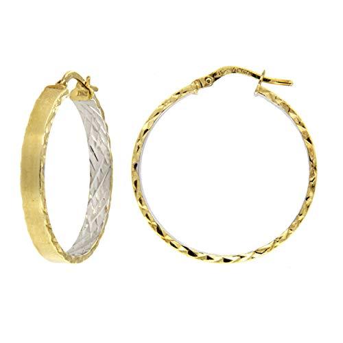 Pendientes redondos dos colores diamantados Dea Estia Amarillo y blanco.
