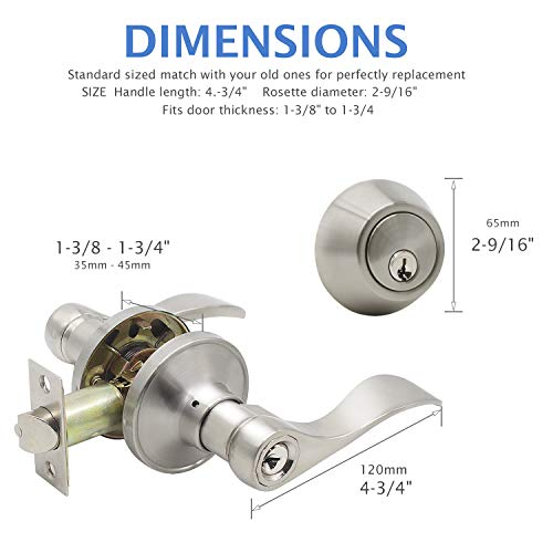 6 Pack Entry Lock with Single Cylinder Handleset Satin Nickel, Keyed Alike(Combo Pack), Wave Style Door Lever Lockset for Entrance Front Bed/Bath Doors