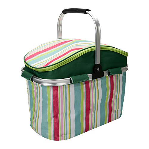 Picnic Basket, 26L Large Size Insulated Picnic Basket - BBQ Meat Drinks Cooler Bag - Folding Collapsible Cooler Basket for Family Vacations Parties Outdoor Travel, Keep Food Cold Storage (Green)