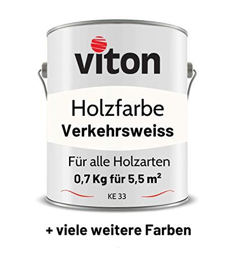 VITON Holzfarbe in Weiss - 0,7 Kg Holzlack Glänzend - Wetterschutzfarbe für Innen und Außen - 2in1 Grundierung & Deckfarbe - Profi-Holzschutzlack - KE33 - RAL 9016 Verkehrsweiss