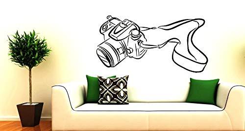 Wandaufkleber, Wandkunst, Wand Tattoocamera Musterkunst Home Wohnzimmer Dekoration Wandaufkleber Vinyl Wandaufkleber Kamera Silhouette Wandbild 38X75Cm