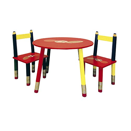 ORE 3-Piece Kids Table and Chairs Set, Red Finish