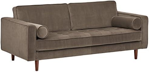 Best Amazon Brand – Rivet Aiden Tufted Mid-Century Modern Velvet Bench Loveseat Sofa, 74