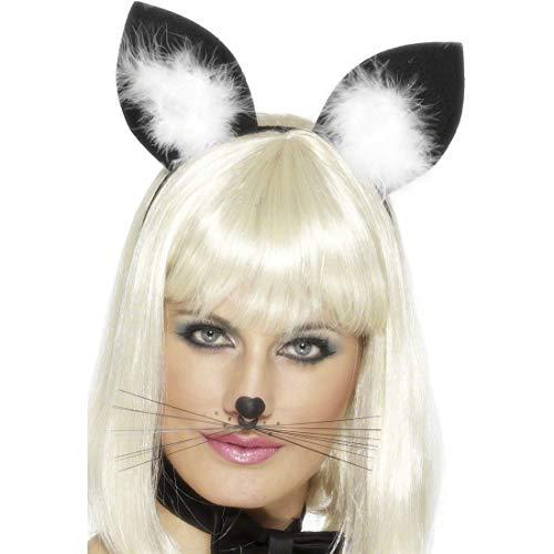 NET TOYS Serre-tête Oreilles de Chat Noir-Blanc Oreilles Chat Serre-tête de Chat Accessoire déguisement Chat