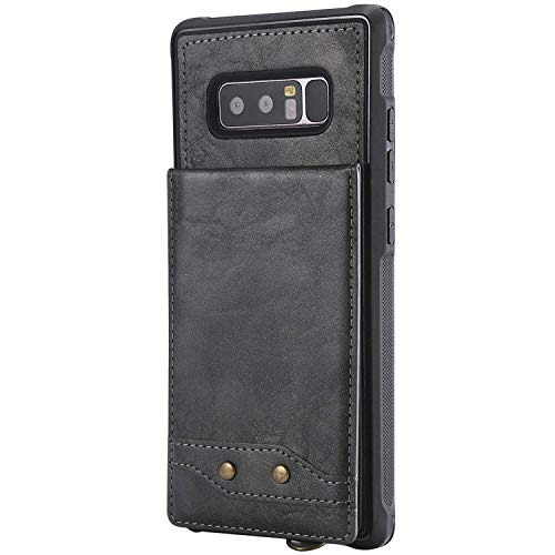 CUSKING Galaxy Note 8 Case, PU Leather Wallet Case, Premium Magnetic Stand Bumper Case with Card Holder and Hand Strap for Samsung Galaxy Note 8, Gray