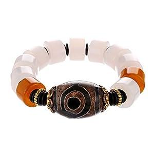 Prime Fengshui Schützendes Armband mit weißen Achat-Perlen und grünem tibetischem Dzi Amulett-Armreif zieht positive Energie und Glück an.