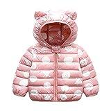 Bebé Chaqueta Invierno, Niños Niñas Abrigo con Capucha Traje de Nieve Manga Larga Outfits Calentar Warmer Regalos Ropa 1-2 años,Rosa