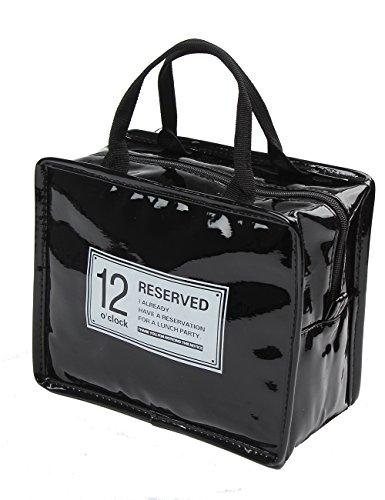 iSuperb Borsa Termica Adulto Porta Pranzo Lunch Bag con Cerniera per Donna,Uomo e Ufficio 22x13x18.5cm (nero)