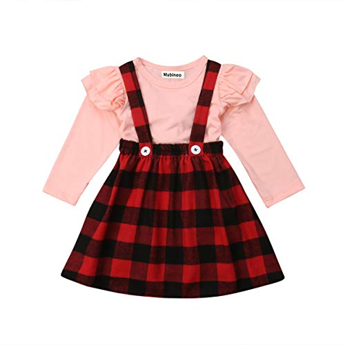 Mubineo Toddler Baby Girl Infant Plain T Shirts Plaid Overall Skirt Set Cotton Outfits