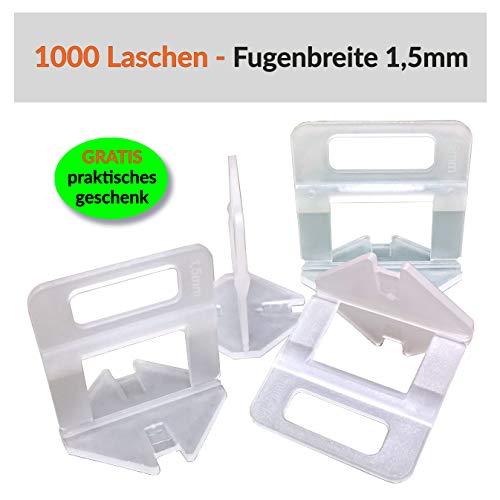 100-5000 Stück Laschen Nivelliersystem Fliesen Nivellierhilfe - Zuglaschen Levello 1-3 mm Fugenbreite Verlegehilfe für Fliesenstärke 3-12 mm (1000 Laschen, 1,5mm)
