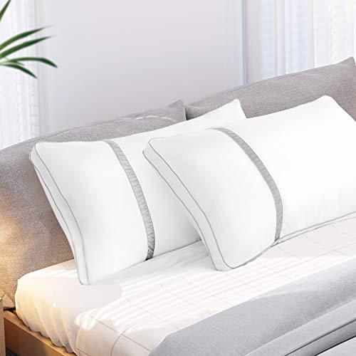 BedStory Almohadas Fibra 45 x 90 Almohada con Relleno 3D Fibra Mantiene la Forma Almohadas Antiácaros para de Cama Almohadas para Hoteles【Nueva Versión】 Pack de 2