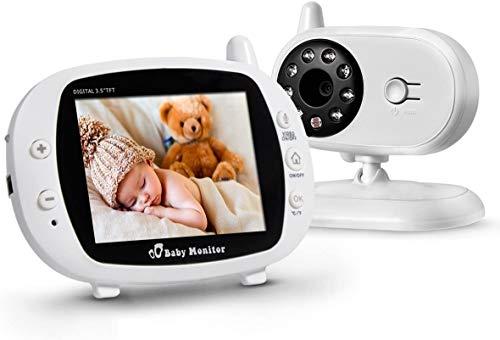 "Glückluz Monitor Bebé 3.5"" Video Cámara, Baby Monitor Soporta Multi Cámaras, Visión Nocturna Infrarroja, Camara Bebe Monitor con..."