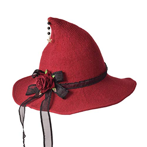 GRACEART Women's Steampunk Felt Witch Hat with Gears Knitted Cap (Style-06)