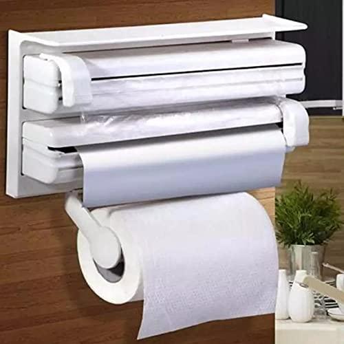 Vidoelettronica® Portarrollos Parat para 3 rollos más estante, corta rollos preciso y siempre limpio, portarrollos de cocina para papel, lámina y aluminio