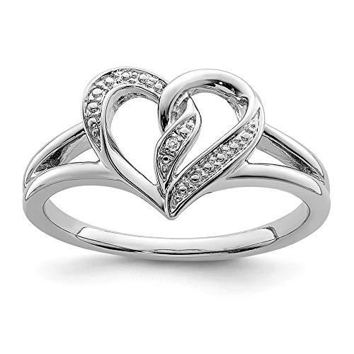 925 Sterling Silver Diamond Heart Band Ring Size 7.00 S/love Fine Jewelry For Women Gifts For Her