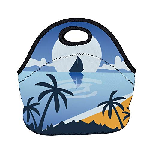 Yilooom Natural Landscape Sky Palm Tree Sea Horizon Neoprene Lunch Tote Insulated Reusable Picnic Lunch Bags Boxes For Women, Men And Kids Mom Bag Tote Bag For Work Office Picnic