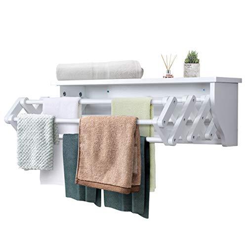 COSTWAY 2 in 1 Handtuchablage und Wäscheständer, Handtuchstange aus Holz, Badetuchstange mit 2 Ablagen, Handtuchständer ausziehbar, Badregal, Wandregal, Kleiderständer, weiß