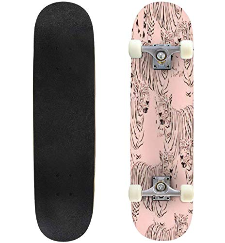 Classic Concave Skateboard Abstract Tiger Seamless Pattern Wild Life Animals Black and Pink Longboard Maple Deck Extreme Sports and Outdoors Double Kick Trick for Beginners and Professionals