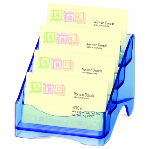 OfficemateOIC Glacier Business Card Holder, 4 Tier, Transparent Blue (23212)