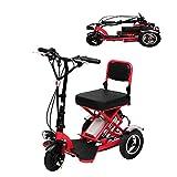 XYDDC Triciclo Plegable eléctrico portátil Mini Scooter eléctrico de Litio Portable Adulto para los inválidos de Edad Avanzada batería de Coche de 48V Puede durar 60 KM,Rojo