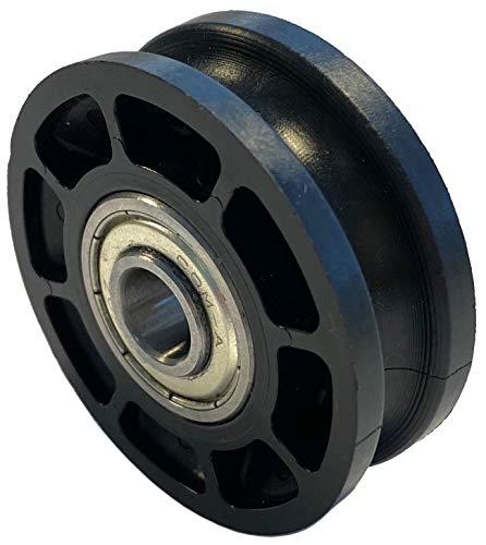 Seilrolle, Durchmesser Ø 52 mm, für Seile bis zu Ø 8 mm mit doppeltem Kugellager mit Distanzring - Made in Germany