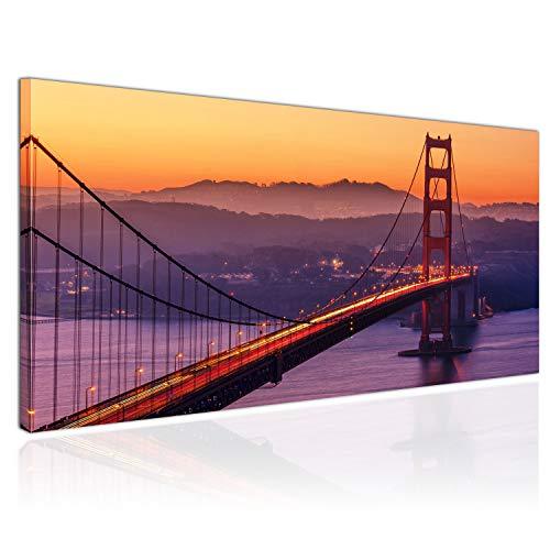 Topquadro XXL Wandbild, Leinwandbild 100x50cm, Golden Gate Bridge, Sonnenuntergang Brücke, San Francisco USA - Panoramabild Keilrahmenbild, Bild auf Leinwand - Einteilig