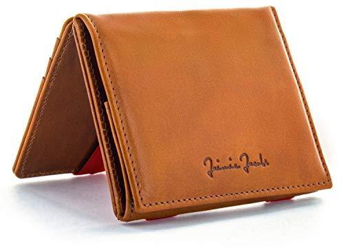 JAIMIE JACOBS Portafoglio Magico con scompartimento per monete e RFID-Blocker Magic Wallet Flap Boy - l'originale - di pelle da uomo (Cognac e Rosse)